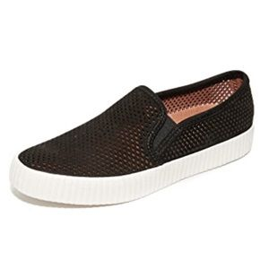Frye Camille Perforated Black Slip on Sneakers